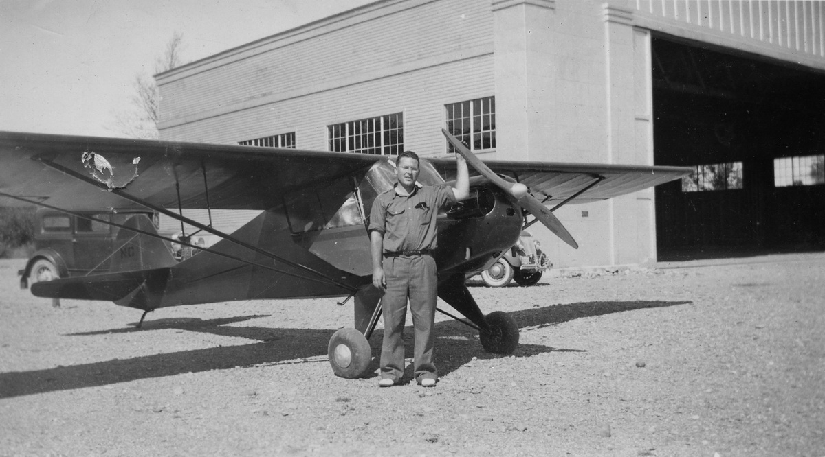 Roger Clifton Rich with a Piper J3