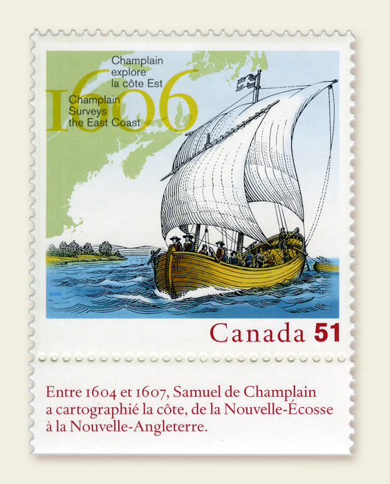Canada Stamp - Samuel de Champlain Surveys the East Coast - 1606 - Issued May 28, 2006