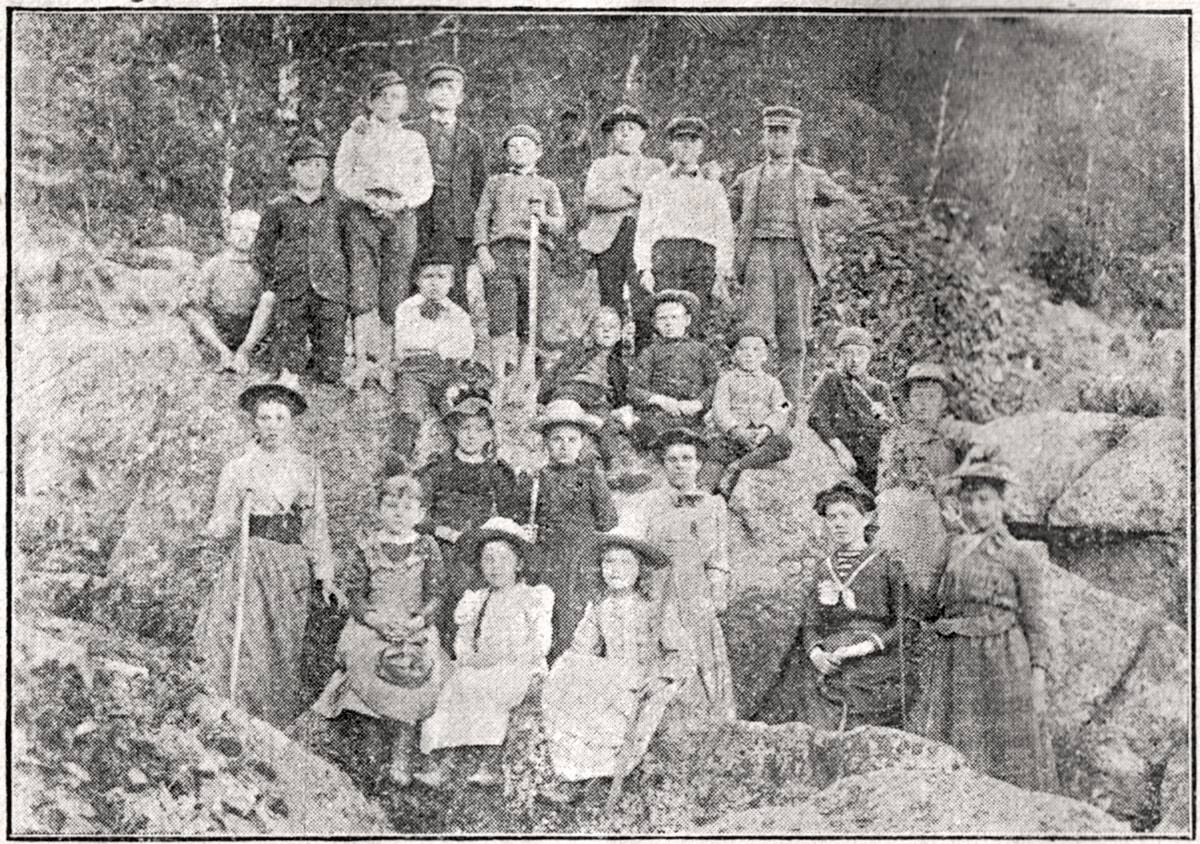 Teacher Emma J. (Coggins) Norwood and Students of the Norwood Cove School at  a Valley Cove Picnic