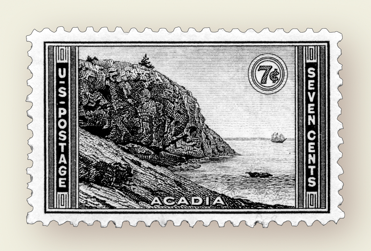 United States Stamp - Great Head at Acadia National Park - Issued October 2, 1934