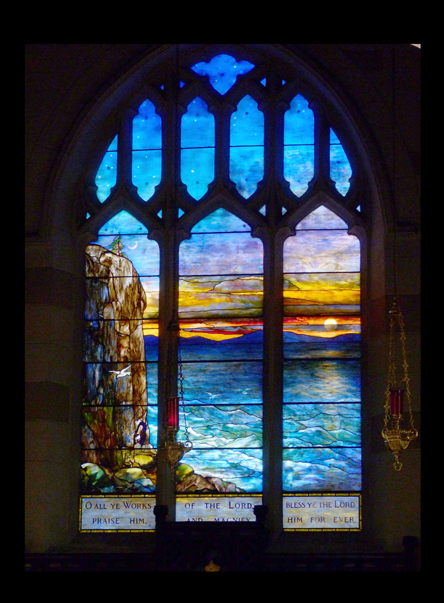 Creation - Tiffany Stained Glass Window depicting Great Head, Mount Desert, Maine