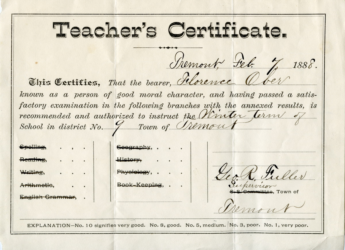Teacher's Certificate for Florence (Whelpley) Ober