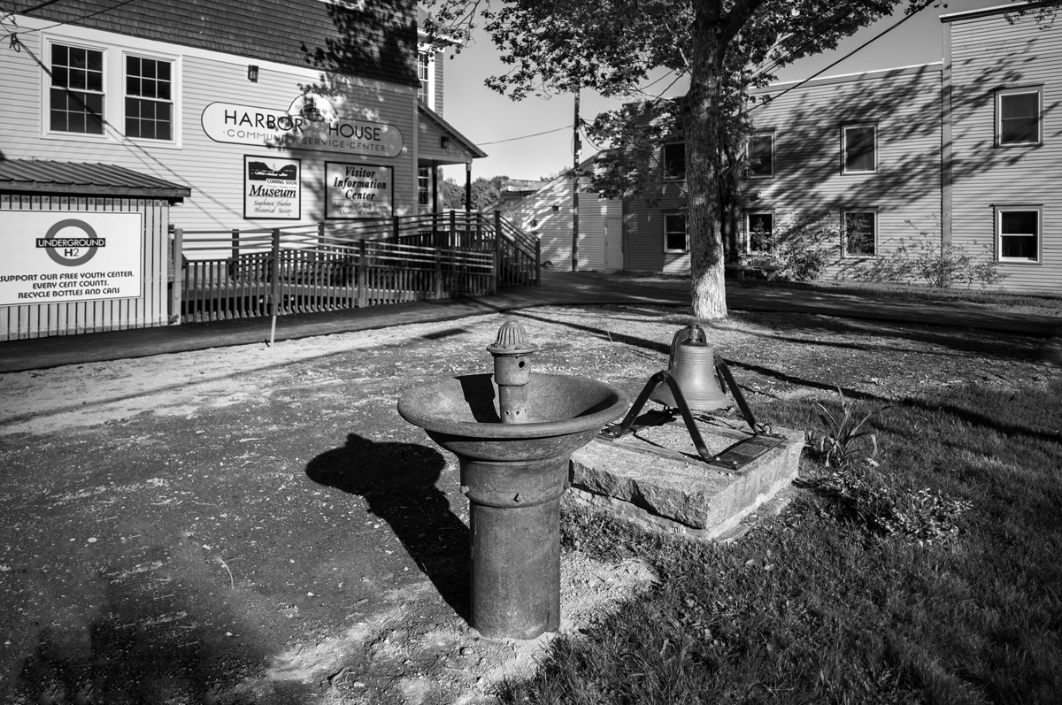 Horse Drinking Fountain and Southwest Harbor School Bell