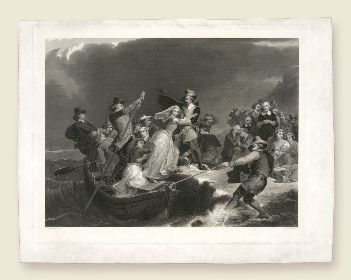 The Landing of the Pilgrims aka Plymouth Rock, 1620 after Peter Frederick Rothermel
