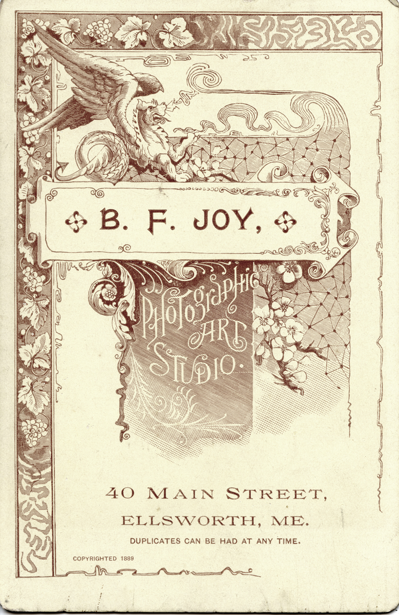 Logo of B.F.Joy's Photographic Art Studio on the reserve of a cabinet photo