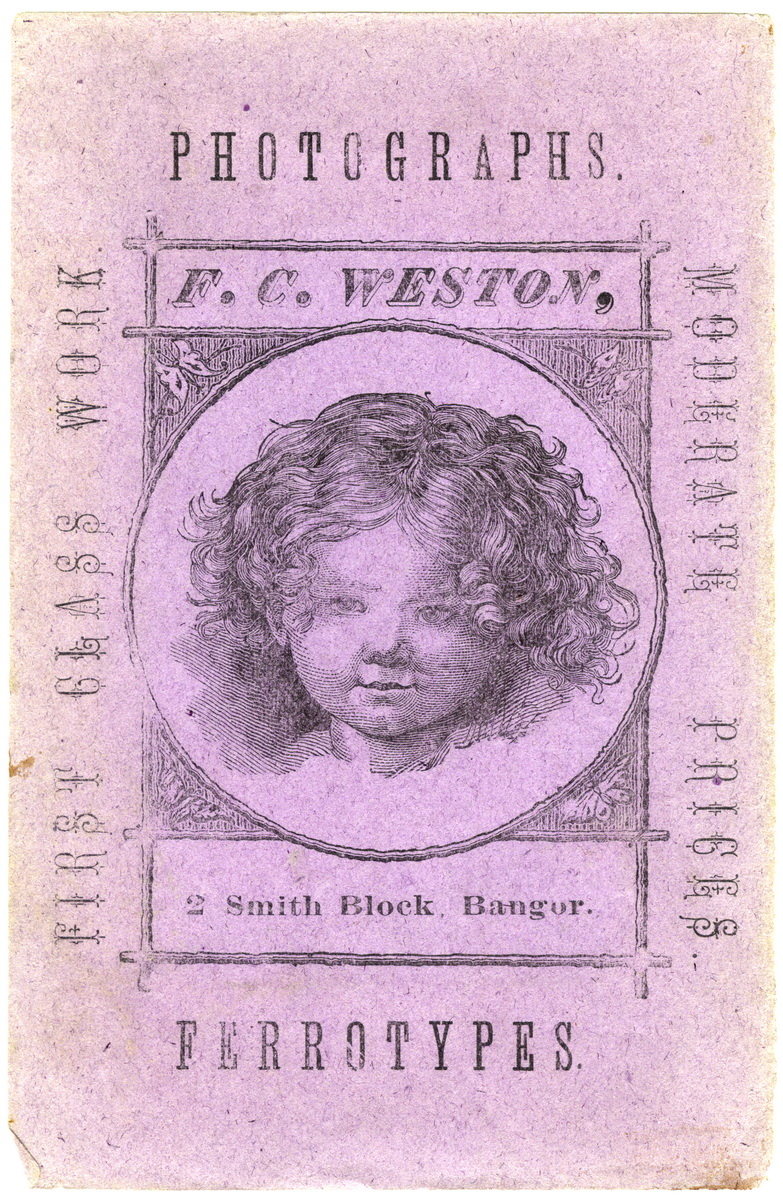 Advertising Card for F.C, Weston Photography Studio