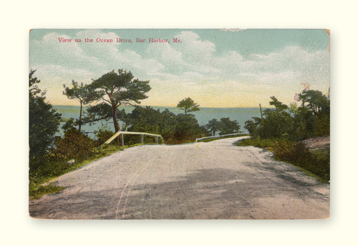 View on the Ocean Drive, Bar Harbor, Me. Before Paving