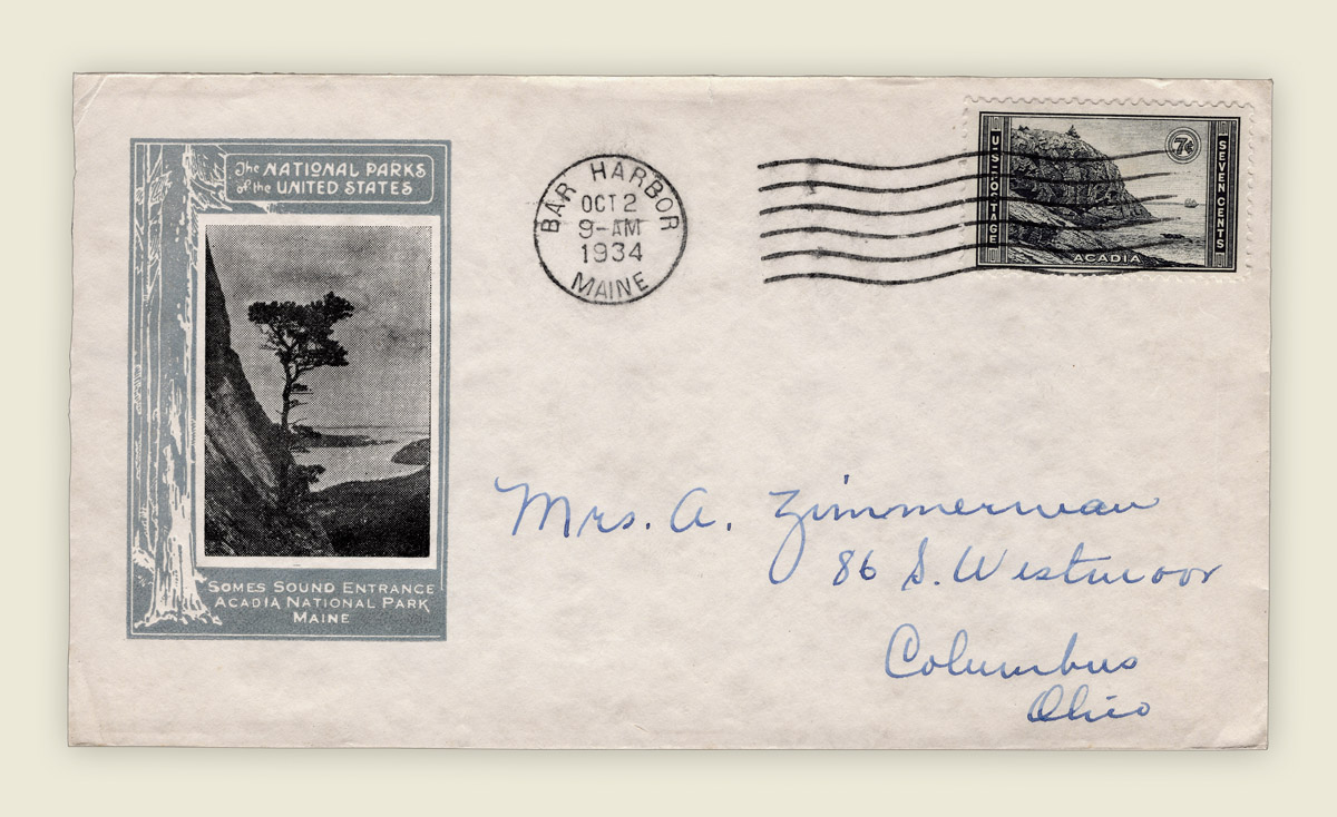 First Day Cover of Acadia National Park with Great Head Stamp - October 2, 1934