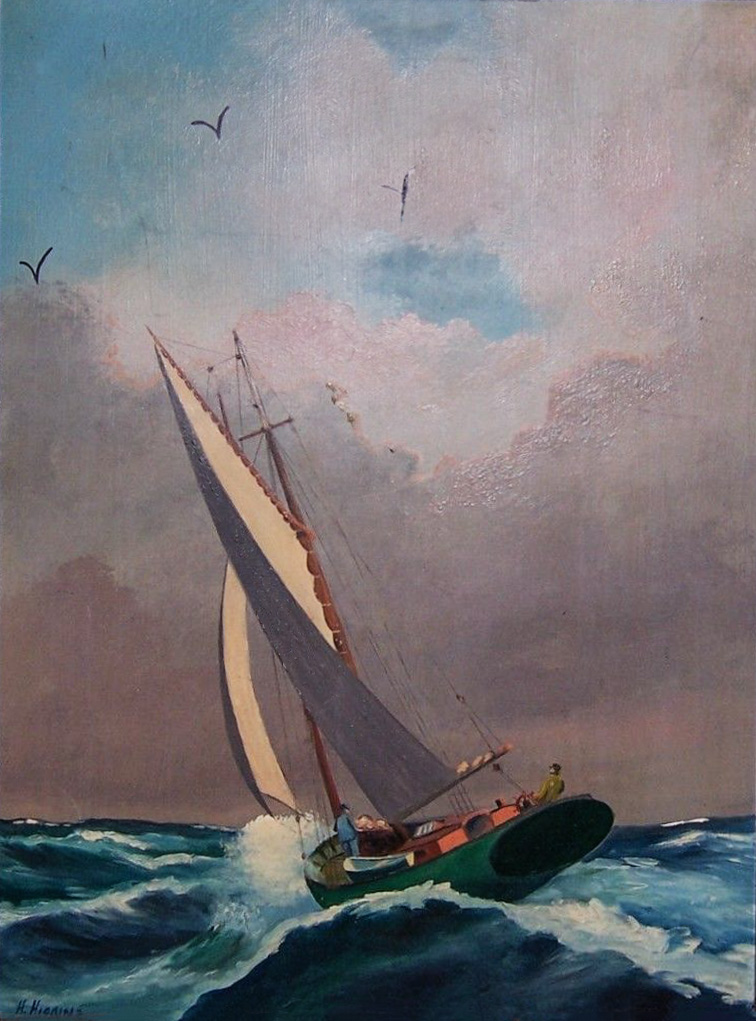 Painting of a gaff rigged sailboat by Howe D. Higgins