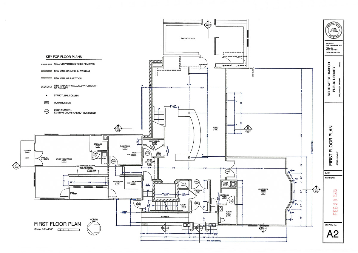 Floor Plans and Site Plans of the Southwest Harbor Public Library