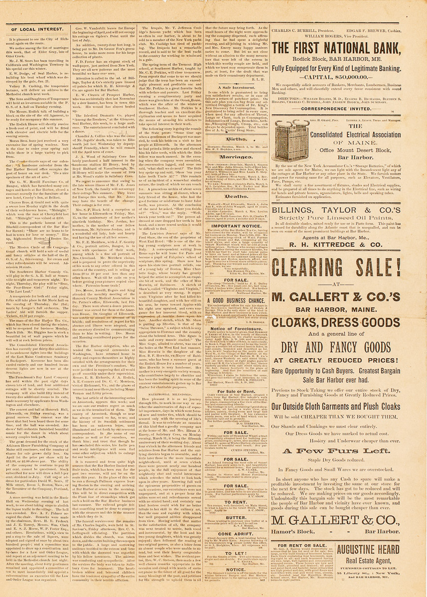 1889 Bar Harbor Record Newspaper from March 14