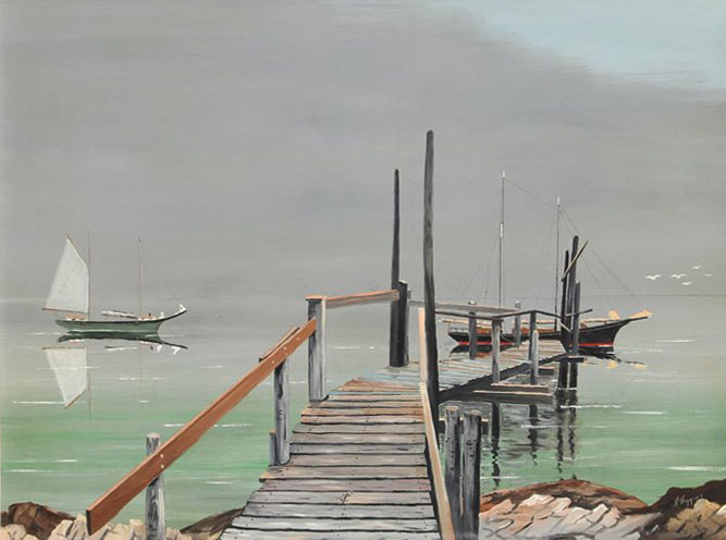 Painting of Dock and Harbor Scene
