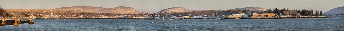 Panorama of Southwest Harbor in Winter