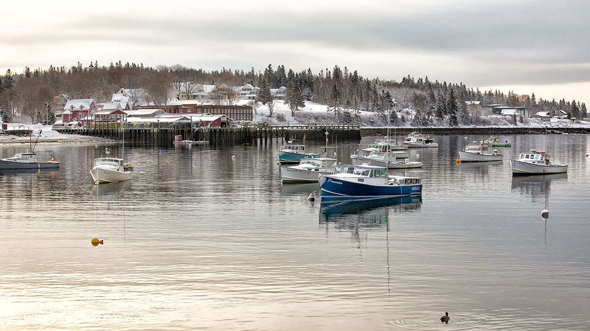 Winter View of the Underwood Factory in Bass Harbor from Bernard