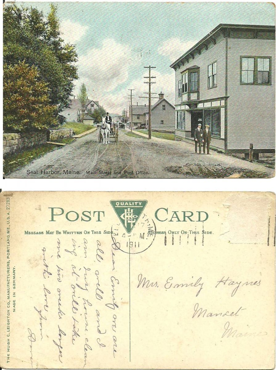 Seal Harbor, Maine. Main Street and Post Office.