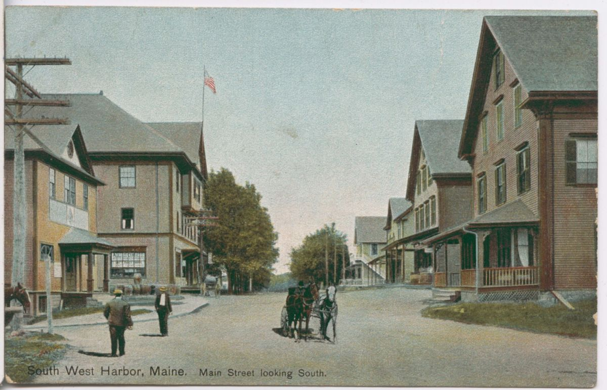 Southwest Harbor, Maine. Main Street Looking South.