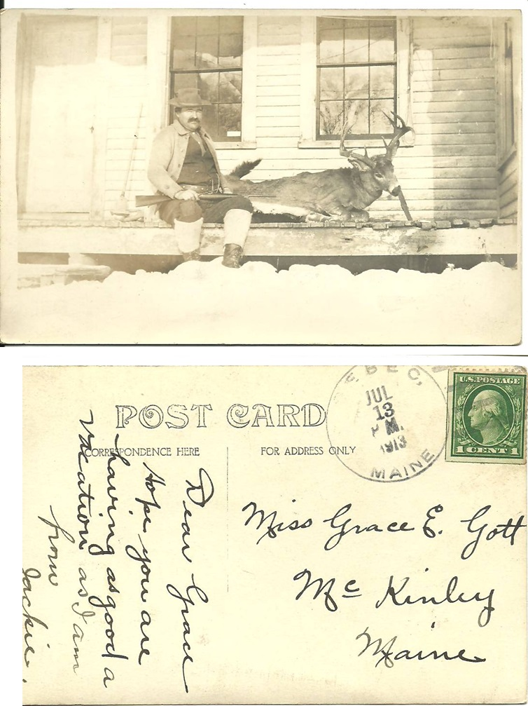 Unknown Man with Deer on Unknown Porch