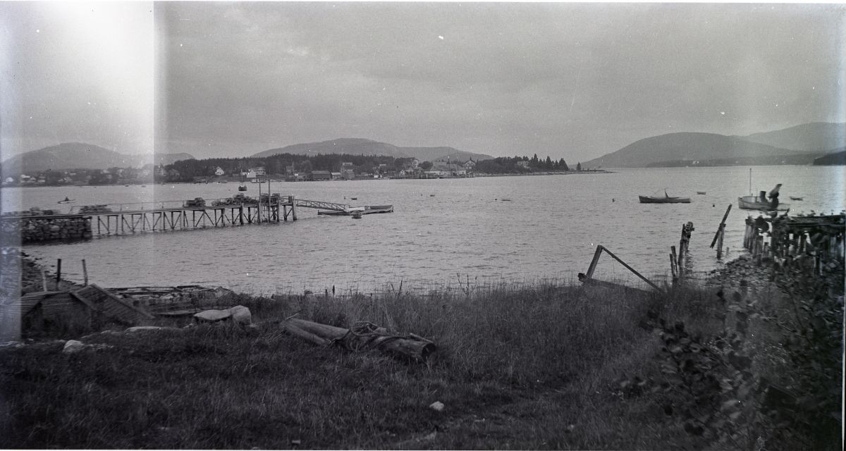 View of Clark Point Road from the Manset Shore after the J. L. Stanley Wharf Fire