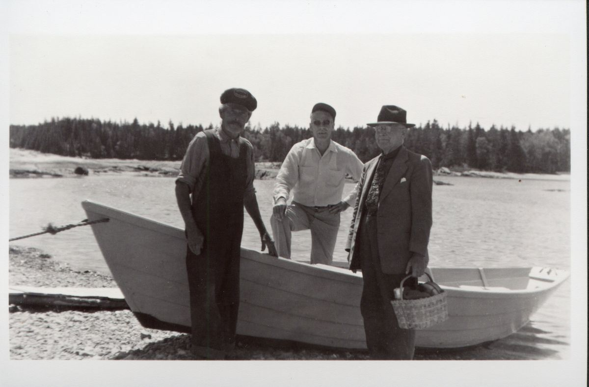 Two Unknown Men with Art Kellam and the BLB on Placentia Island