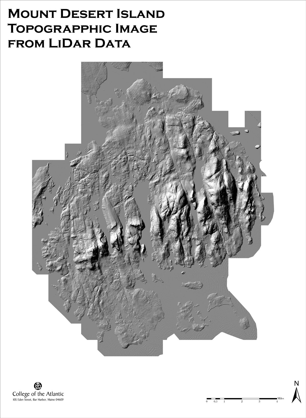 Shaded Relief Map of the Topography of Mount Desert Island