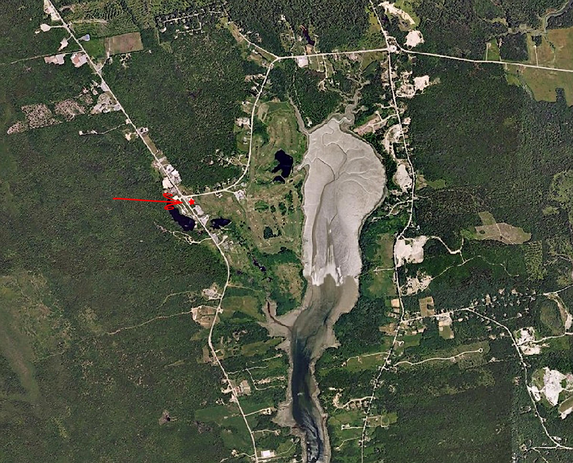 Location of the Cheese House, Aerial Photo of Trenton
