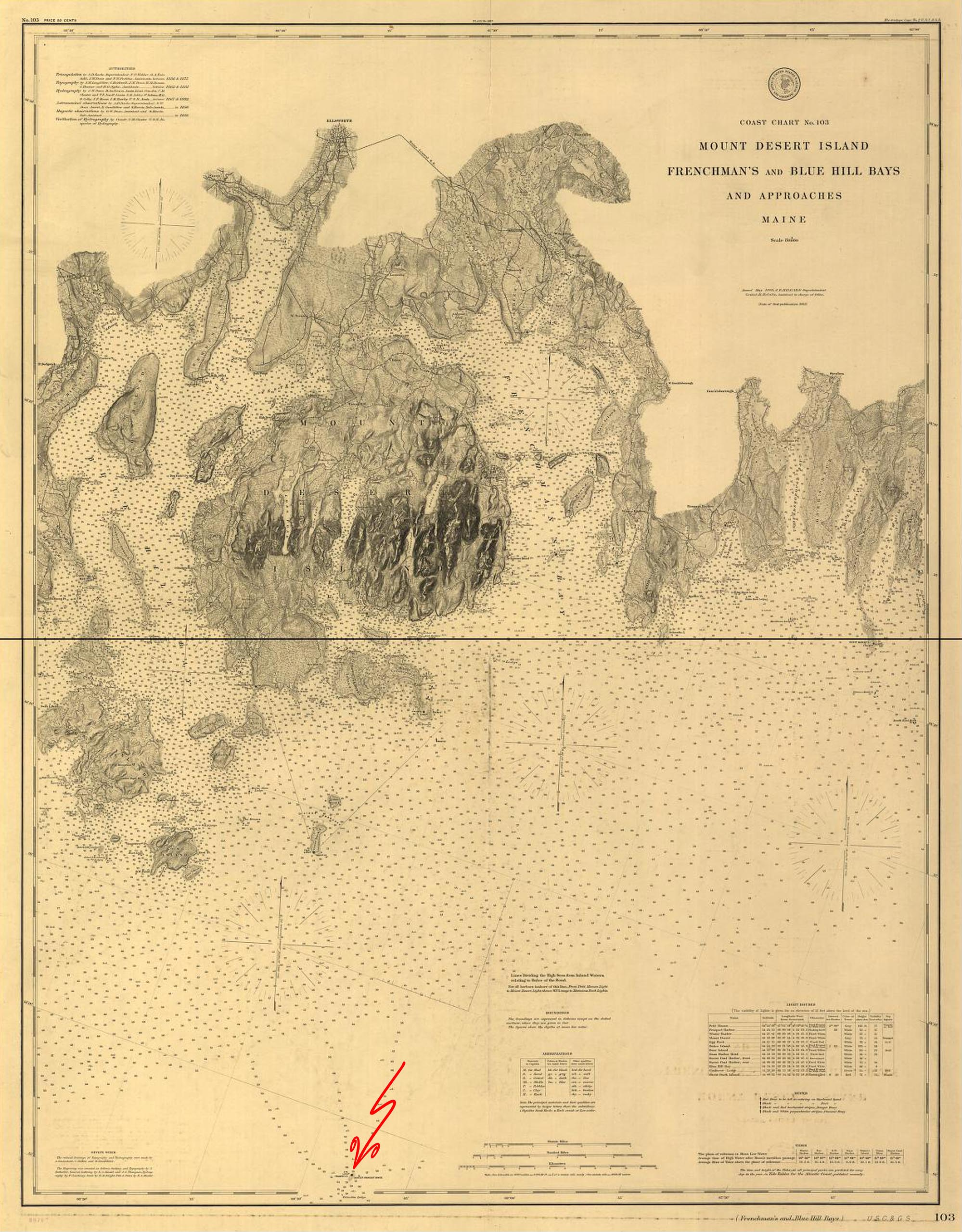 1875 Nautical Chart of Mount Desert Rock, and Frenchman's and Blue Hill Bays and Approaches