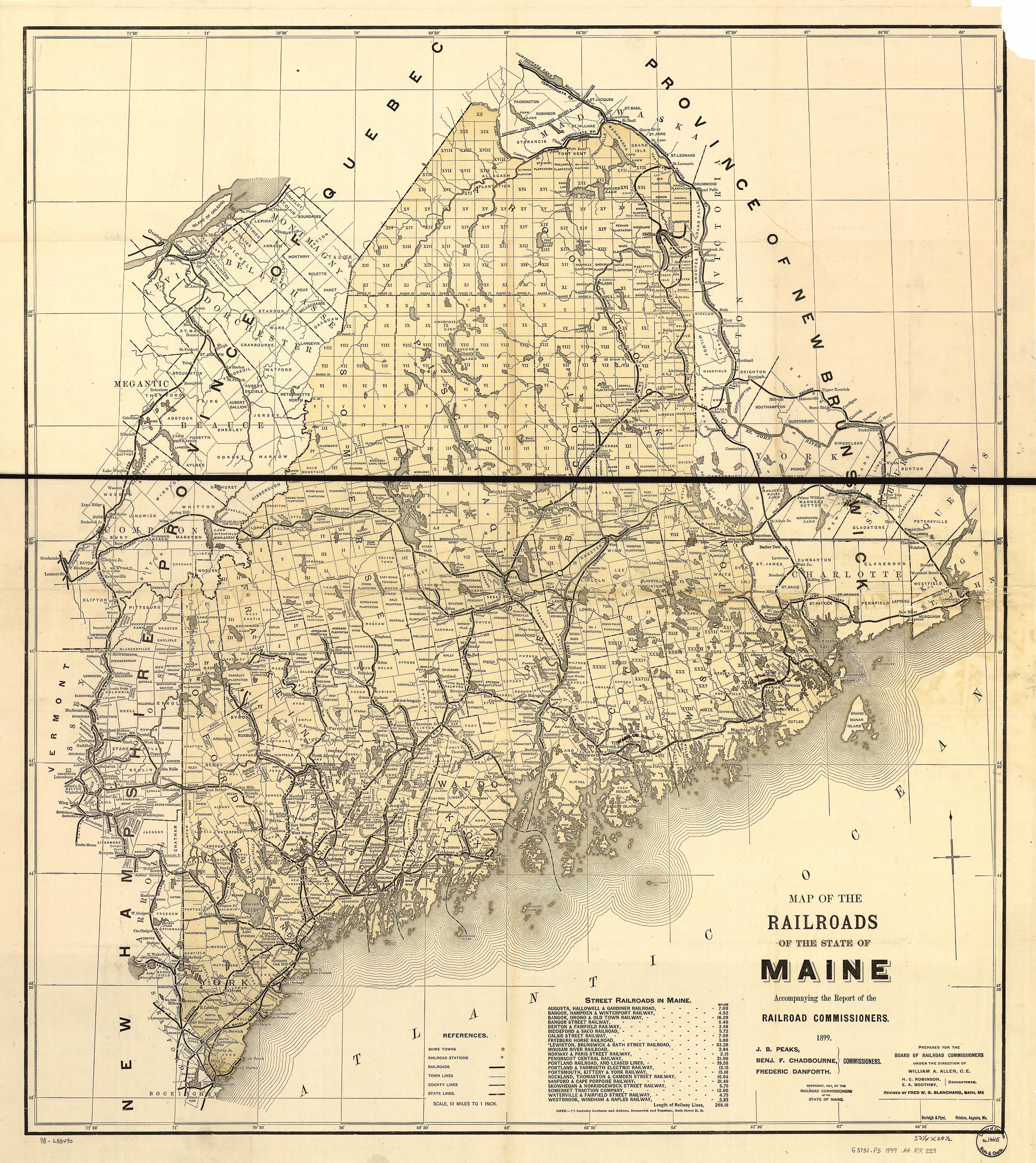 1899 Map of the Railroads of the State of Maine