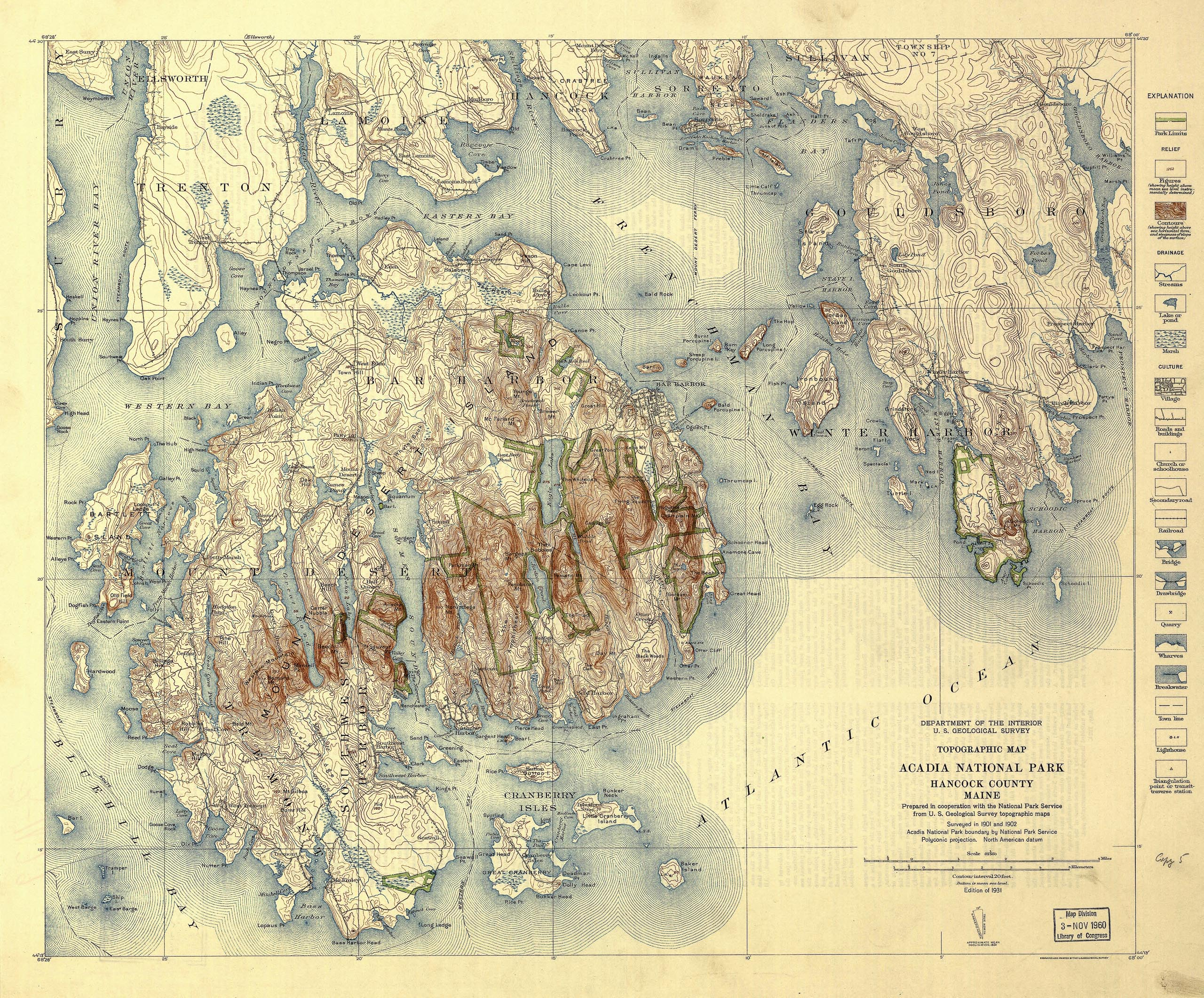 1931 Topographic Map of Acadia National Park, Hancock County, Maine