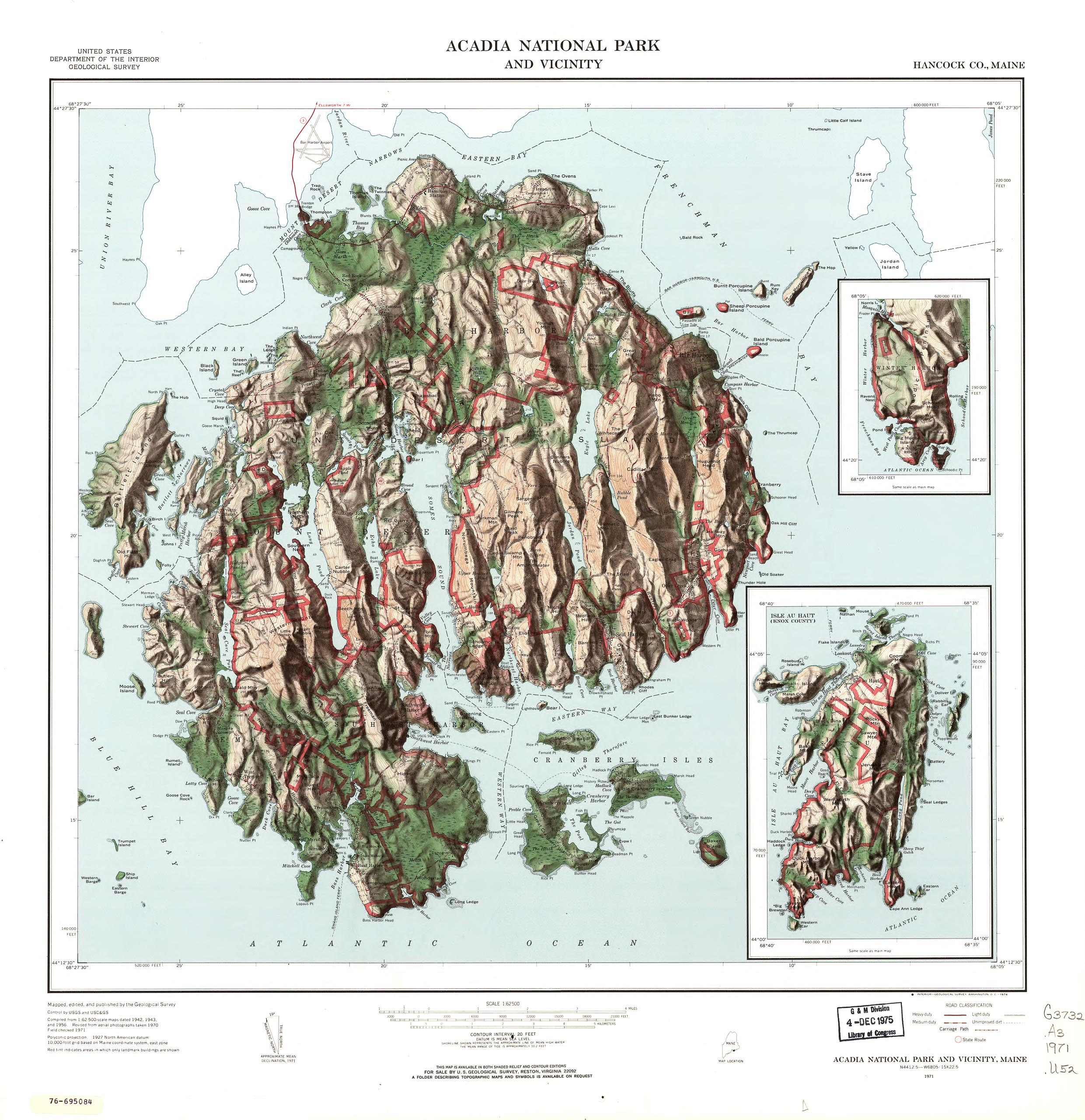 1971 Map of Acadia National Park and Vicinity, Maine