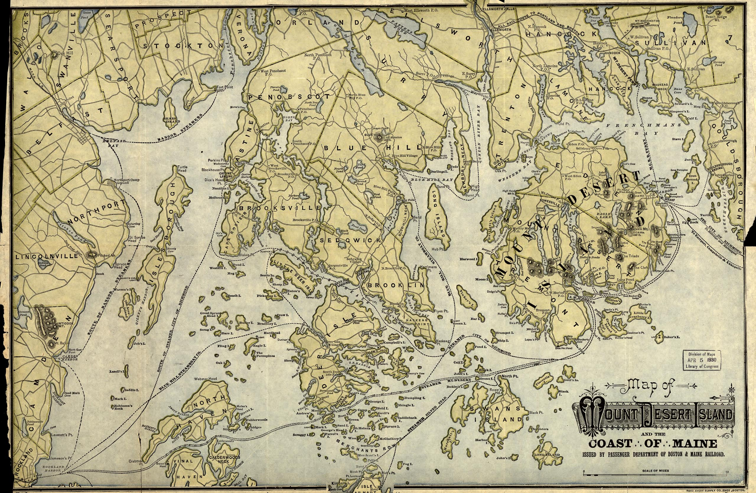 1887 Map of Mount Desert Island and the Coast of Maine, Boston and Maine RR