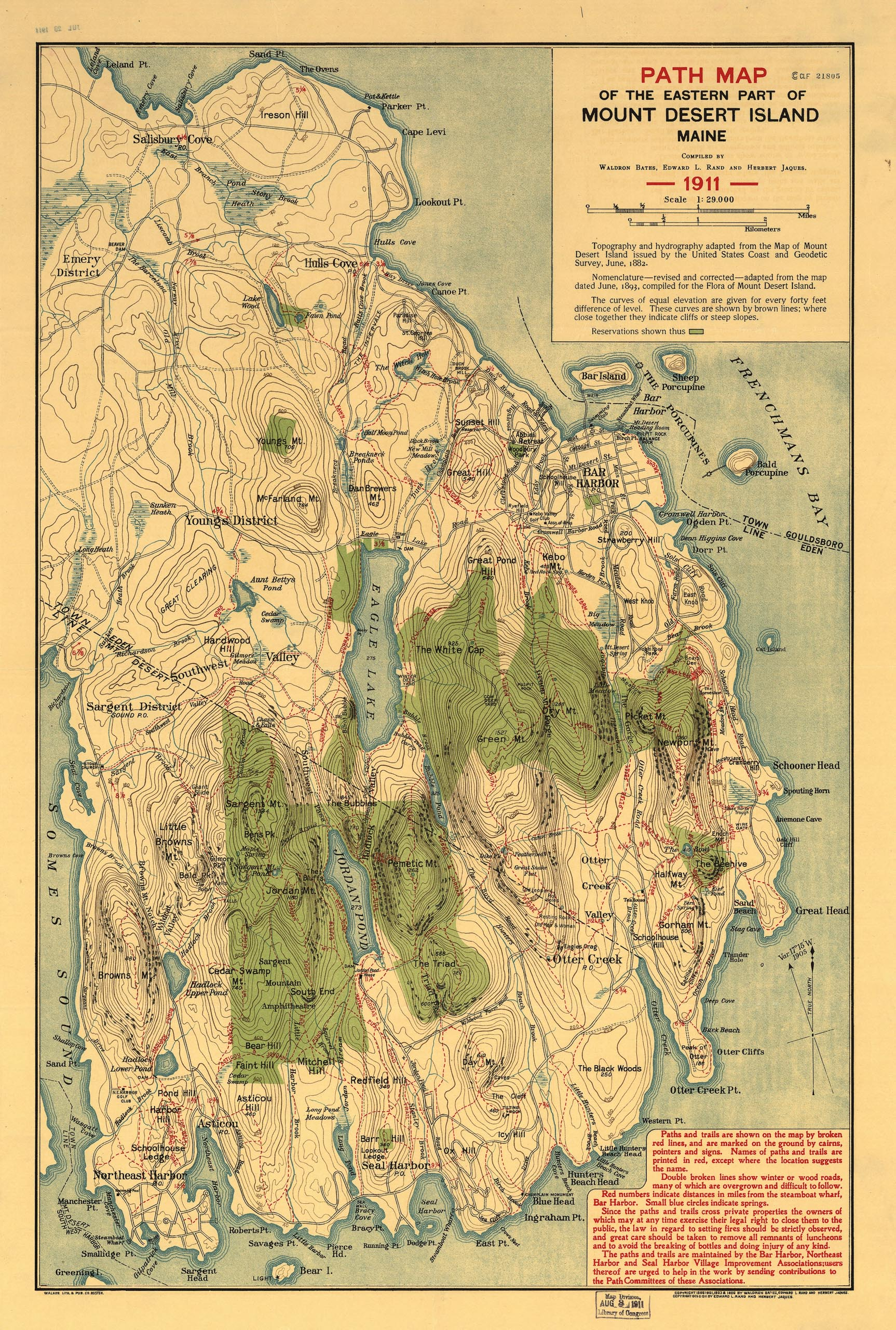 1911 Path Map of the Eastern Part of Mount Desert Island, Maine