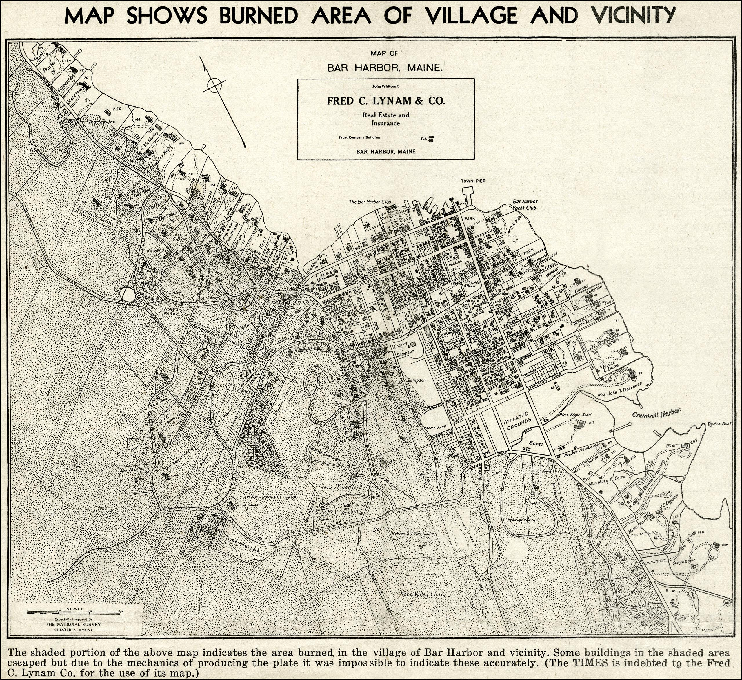 1947 Map of Areas Burned by Bar Harbor Fire