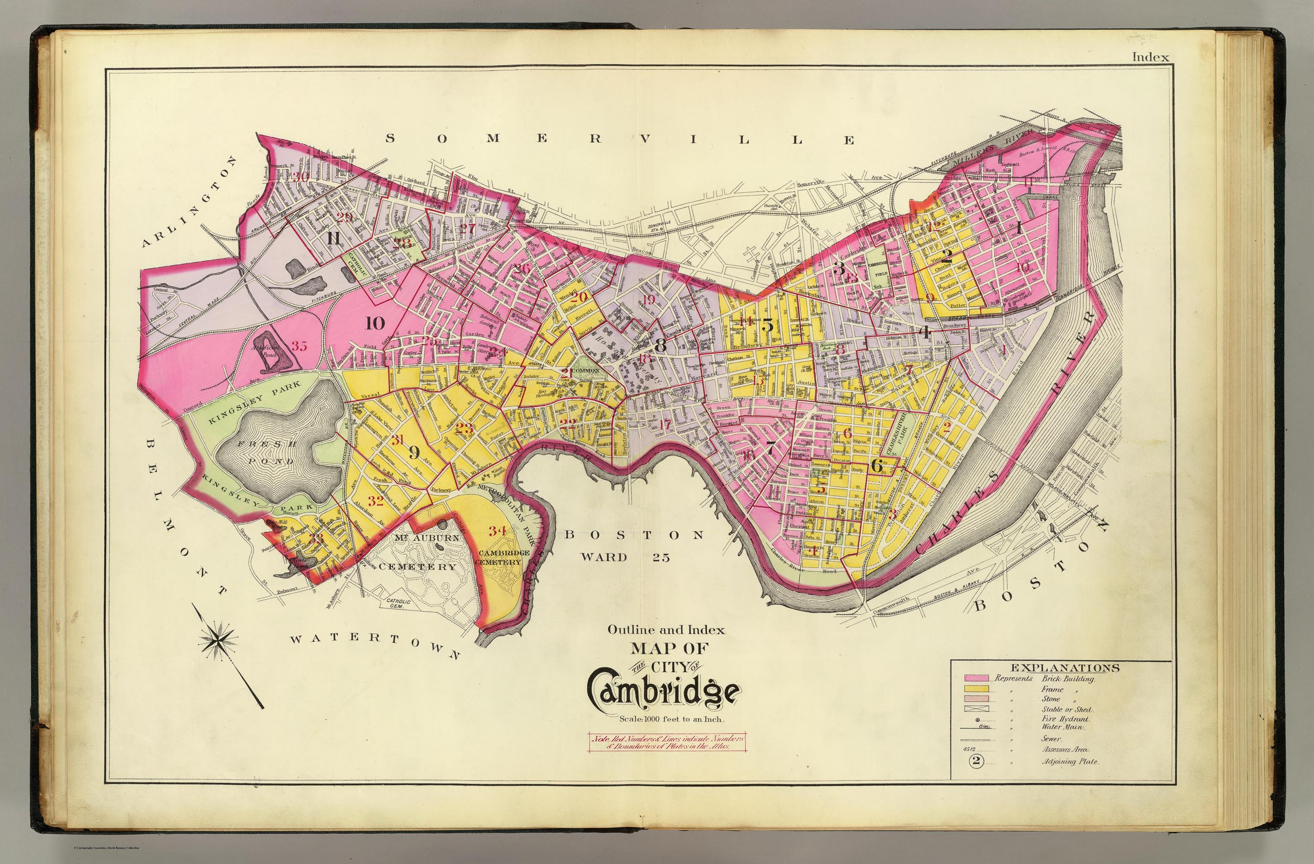 Outline and Index Map of City of Cambridge, Massachusetts, from actual Surveys and Official Plans