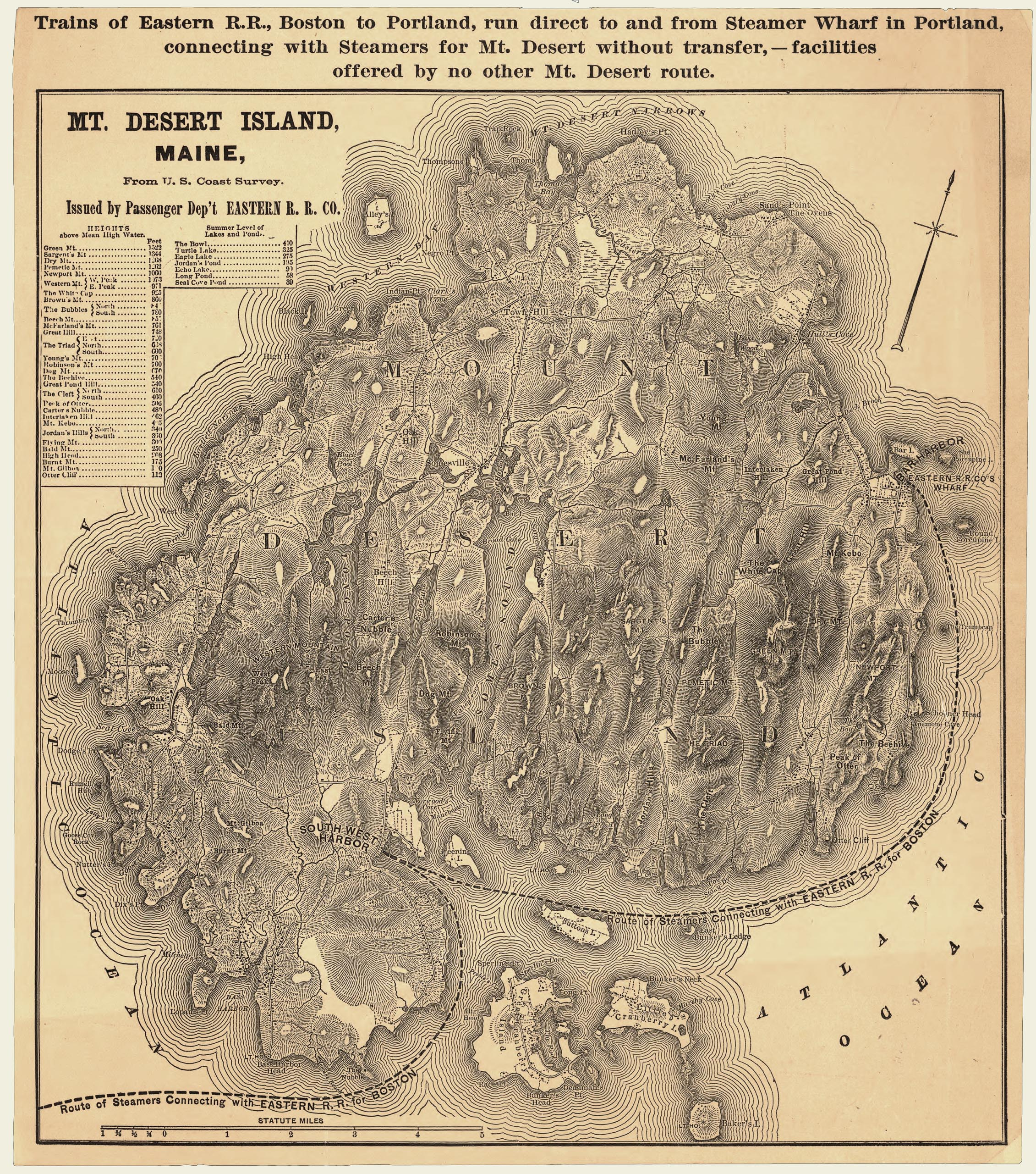 1880 Map Showing Route of Steamers Connecting Mount Desert Island with Eastern R.R. for Boston