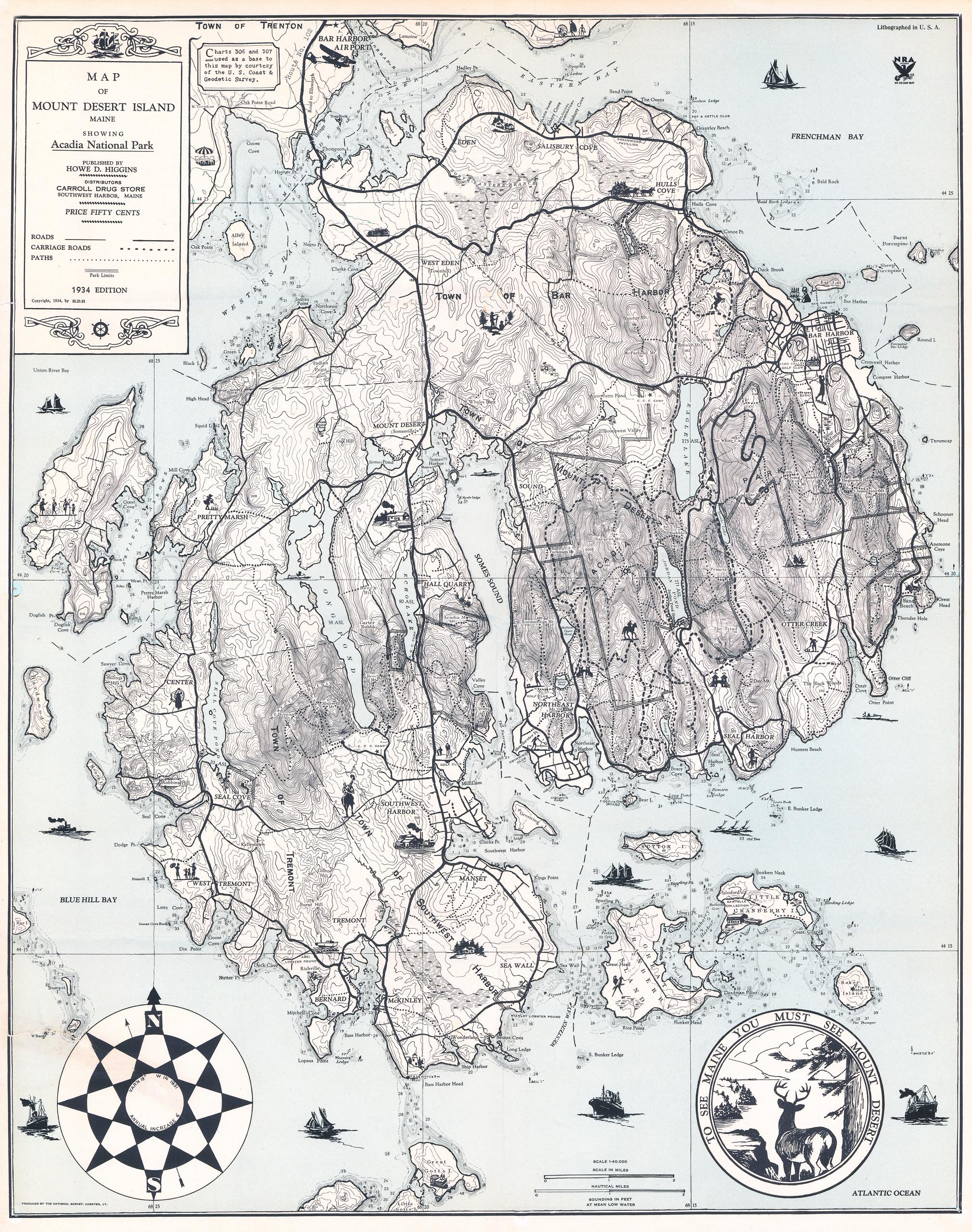 1934 Map of Mount Dessert Island, Maine, Showing Acadia National Park