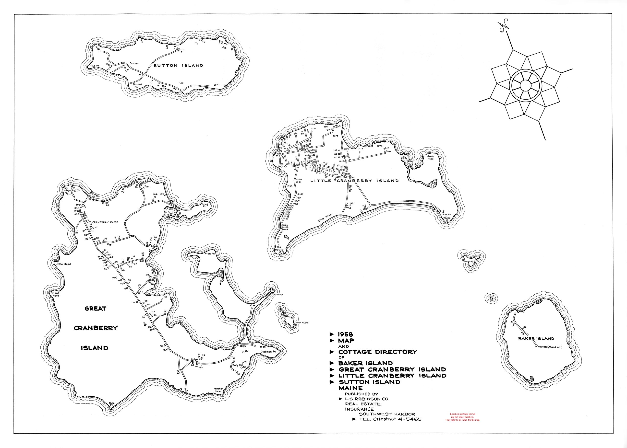 Map and Cottage Directory of Baker Island, Great Cranberry Island, Little Cranberry Island, Sutton Island, Maine - 1958