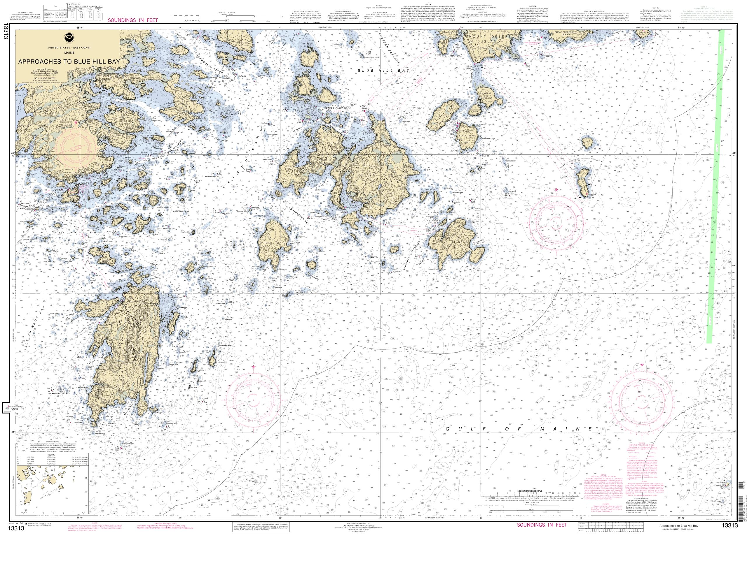 Nautical Chart - Approaches to Blue Hill Bay