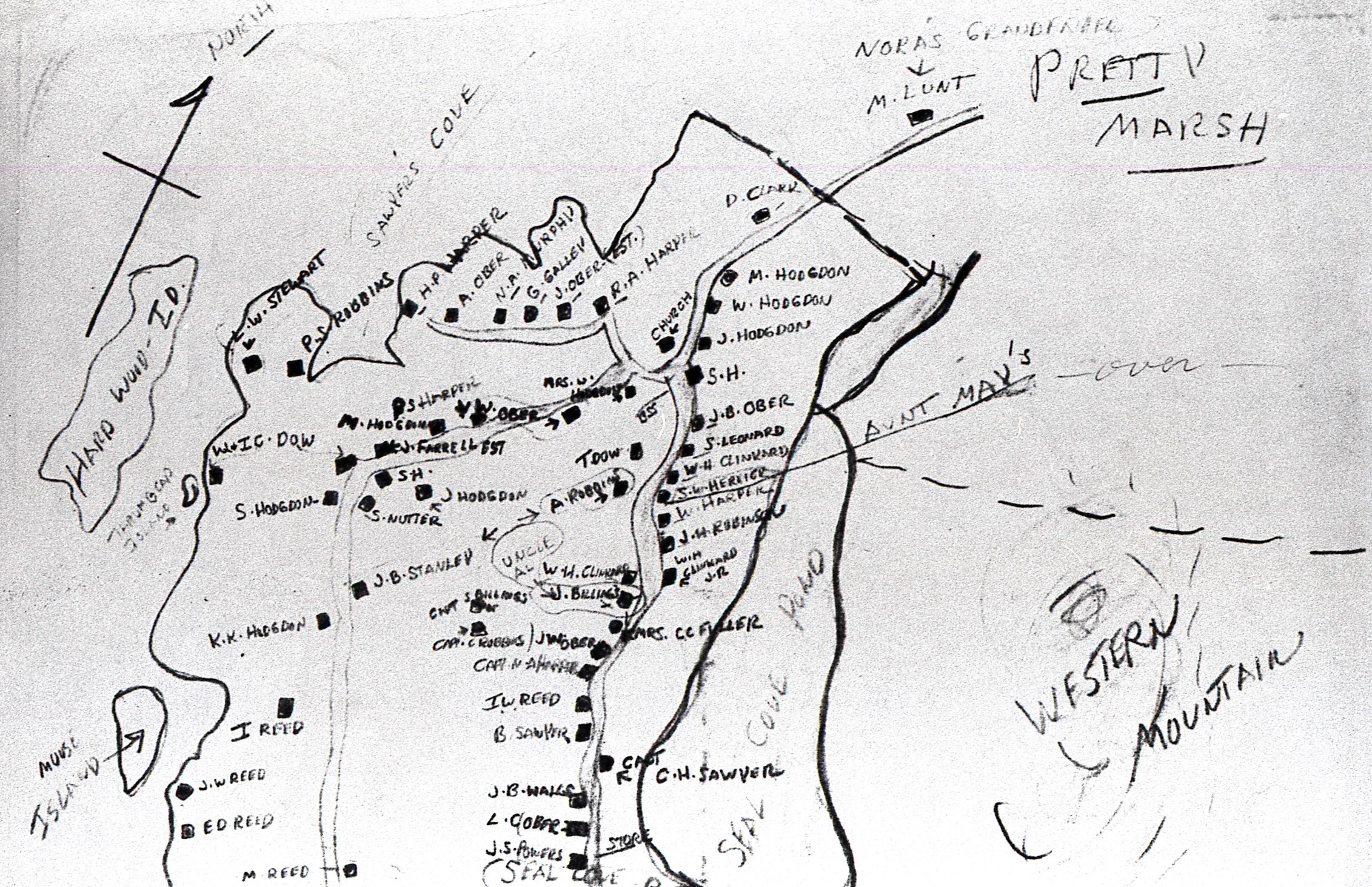 Hand Drawn Map of the Area of the Village of Center and Seal Cove Pond