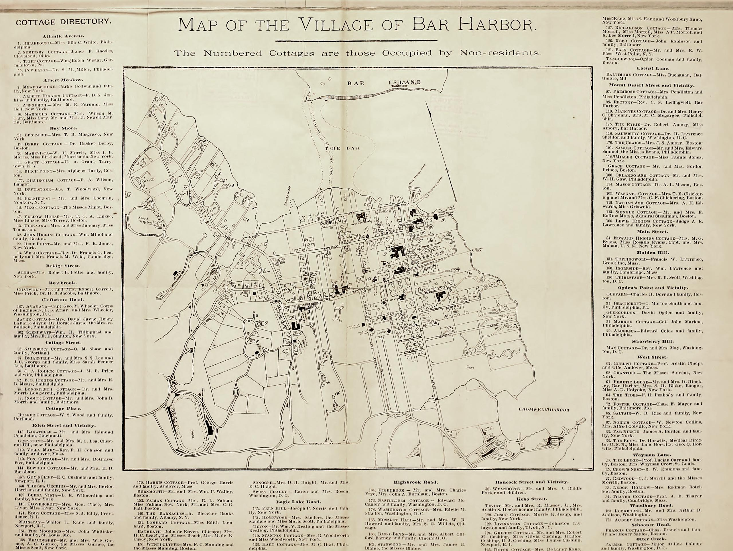 Map and Cottage Directory of the Village of Bar Harbor - 1890