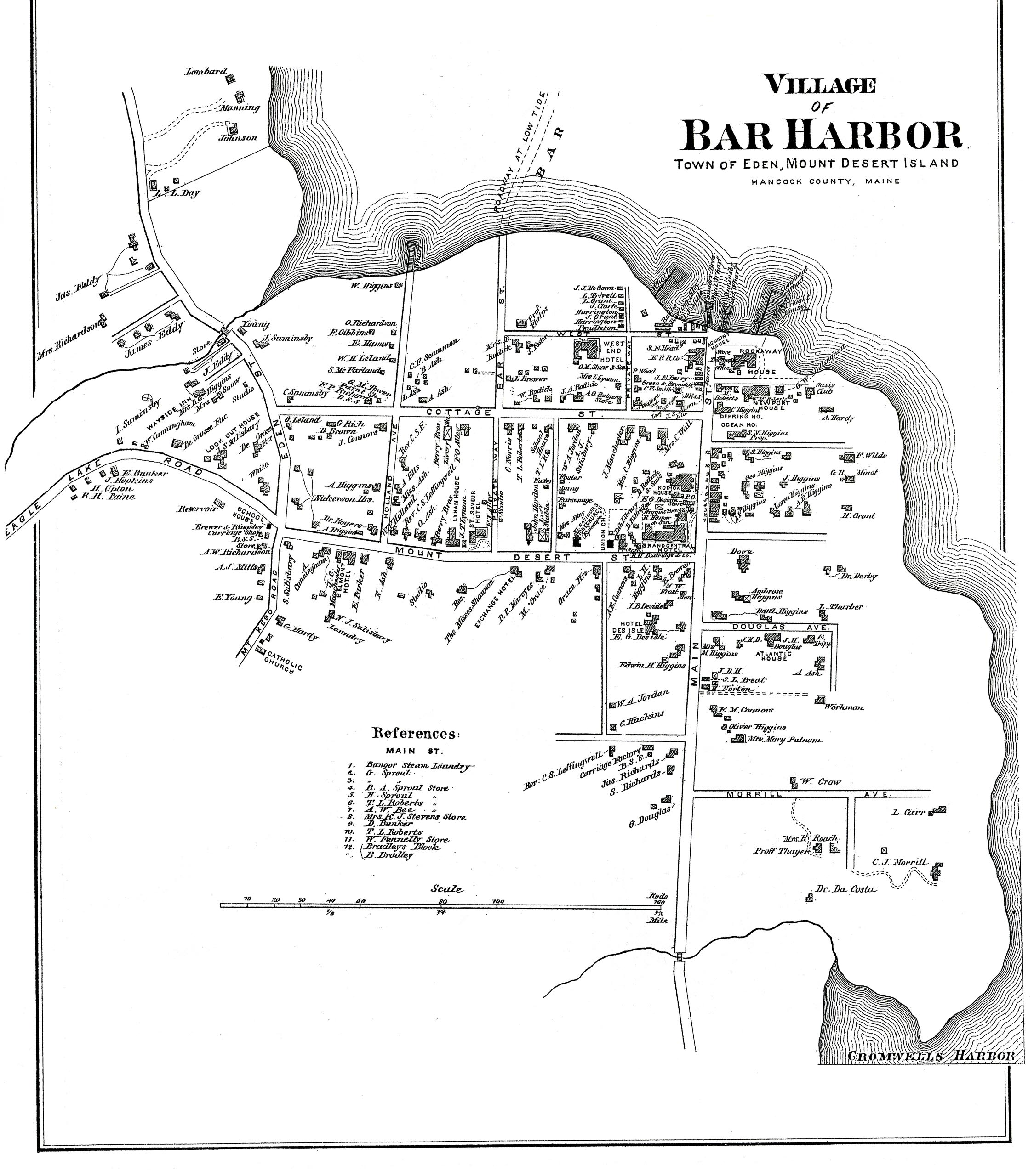1881 Map of the Village of Bar Harbor, Town of Eden, Maine