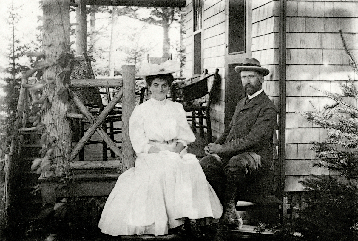 Mr. and Mrs. Henry Lathrop Rand on the Steps at Fox Dens