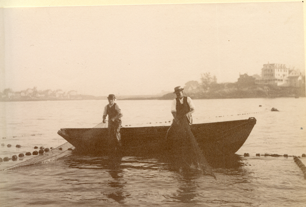 Hauling the Nets From a Dory in Gloucester Harbor