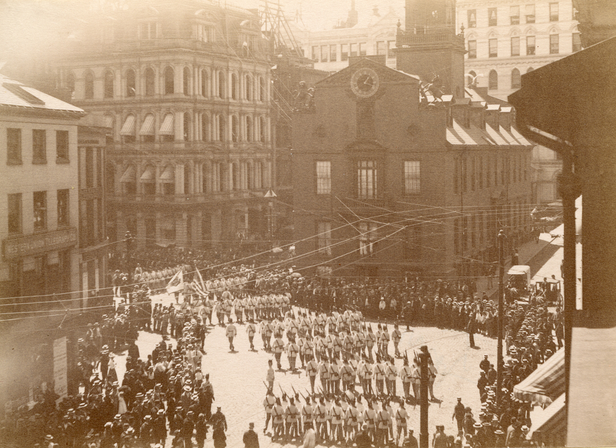 First Corps Cadets on Parade on State Street, Boston