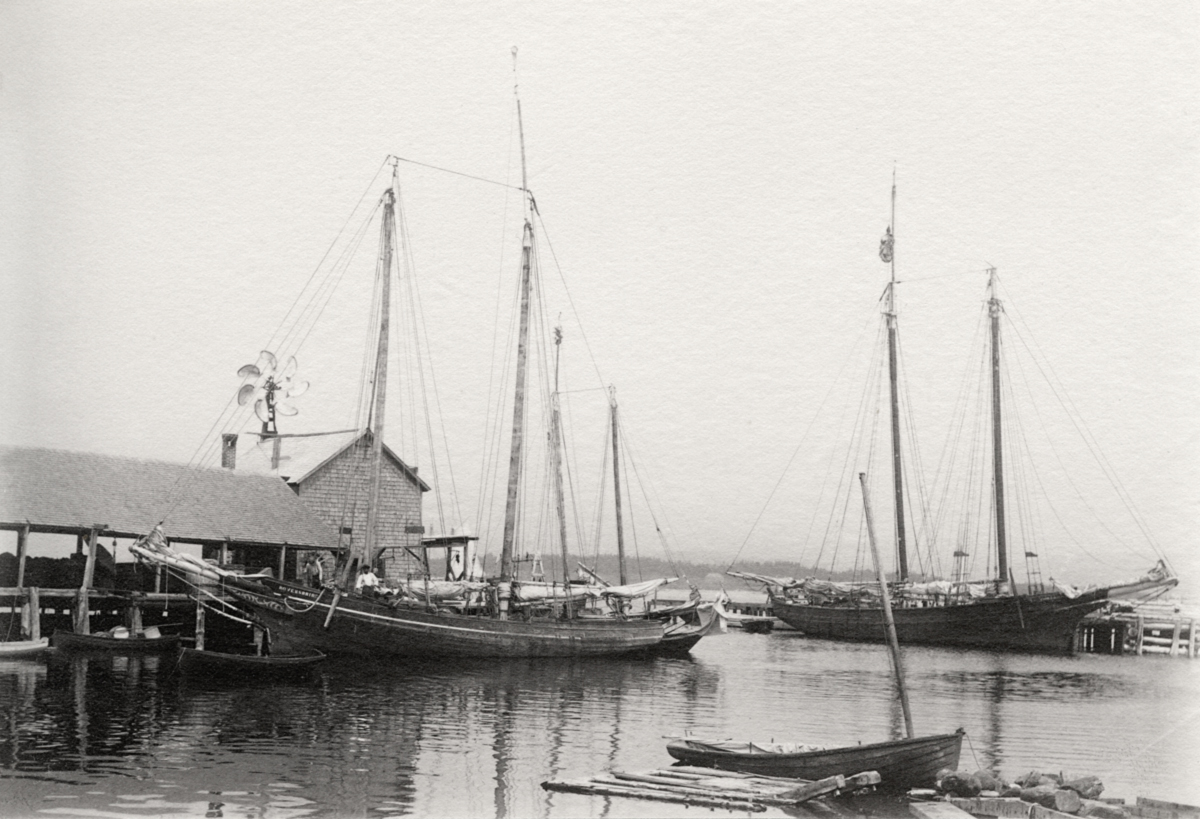 Fishing Schooner Rover's Bride and Iron Turbine Windmill at the Newman Wharf in Manset