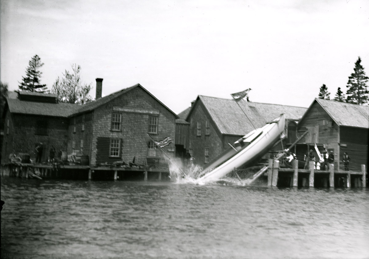 Lewis Freeman Gott Launching Merry Wing in Bernard, Maine Circa 1903