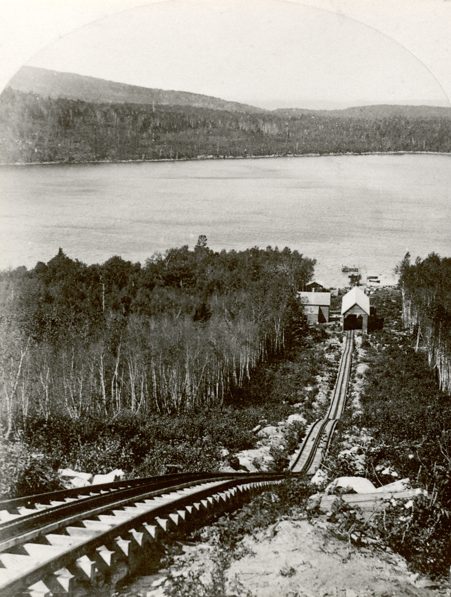 Green Mountain Railway - View from Green Mountain to Steamboat Wharf on Eagle Lake
