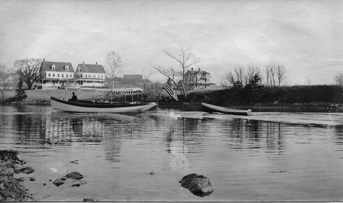 A Naptha Launch on the Mill Pond by the Somes House Hotel