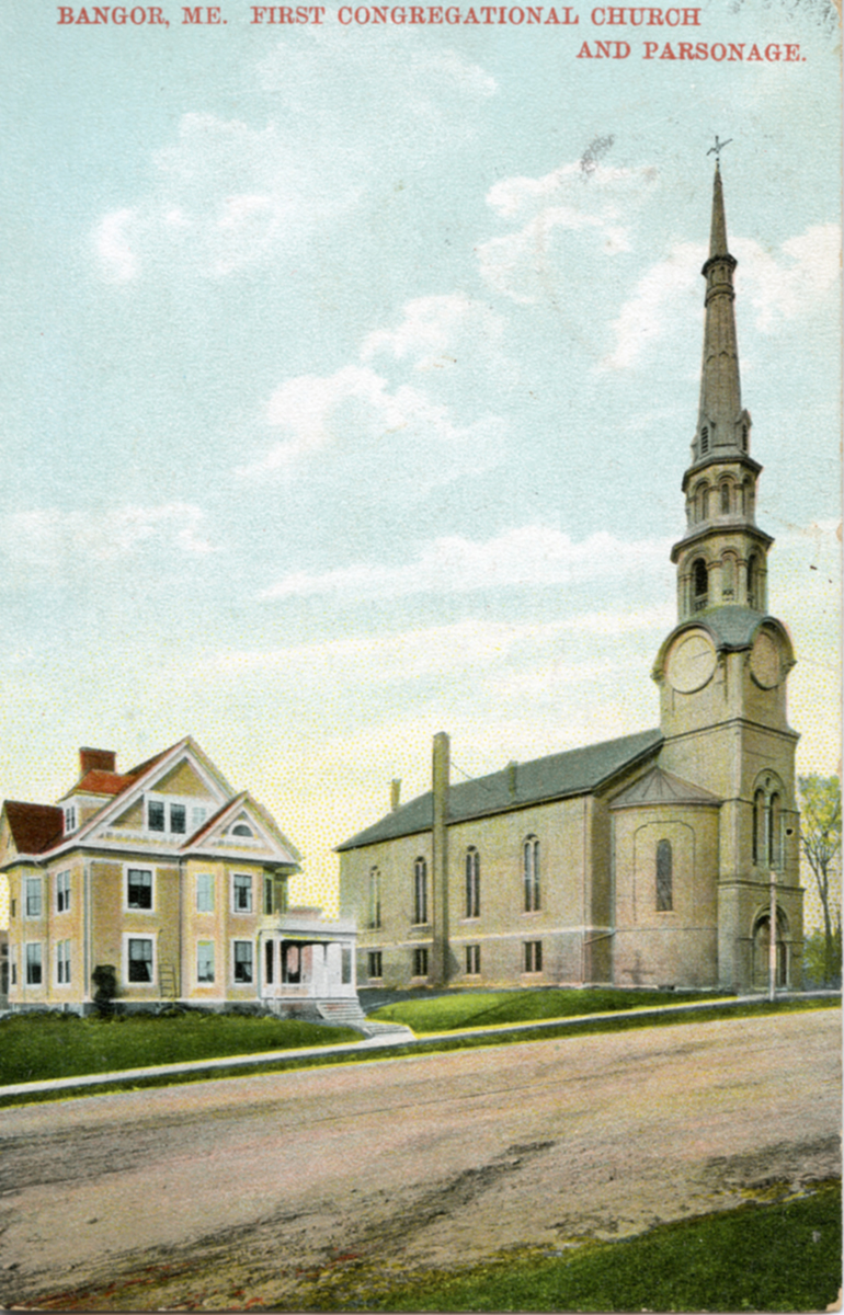 First Congregational Church and Parsonage, Bangor, Maine - Postmarked 1914