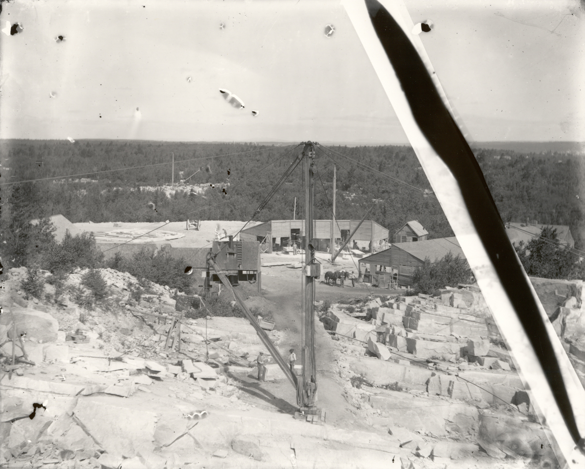 Nubble Quarry Showing the Stone Skids and Derrick