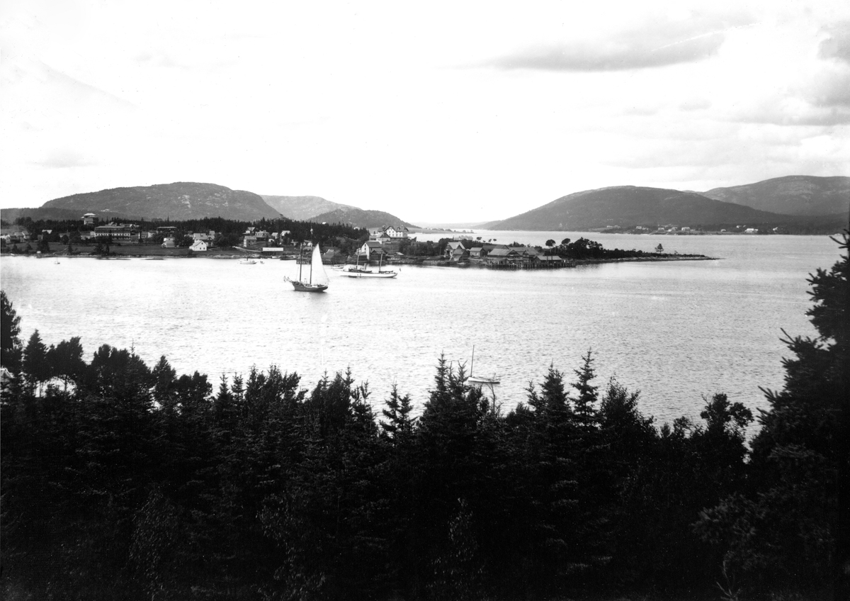View of Southwest Harbor and Clark Point from the Ocean House in Manset